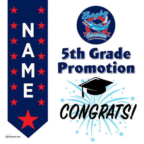 Bagby Elementary School 5th Grade Promotion 24x24 #shineon2027 Yard Sign (Option B)