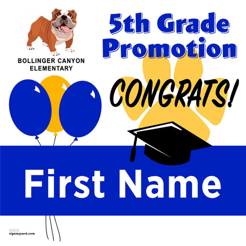 Bollinger Canyon Elementary School 5th Grade Promotion 24x24 #shineon2027 Yard Sign (Option A)