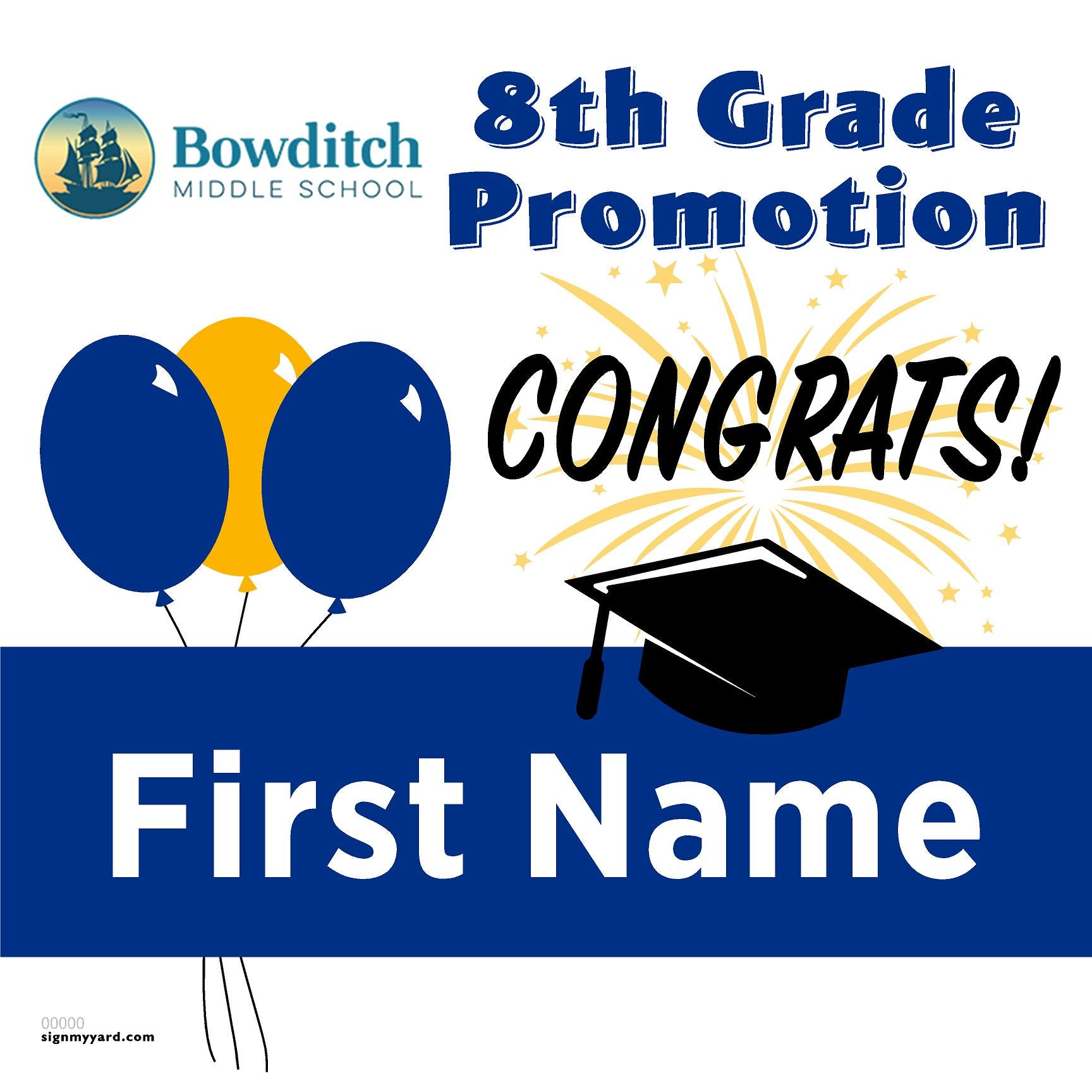 Bowditch Middle School 8th Grade Promotion 24x24 #shineon2024 Yard Sign (Option A)