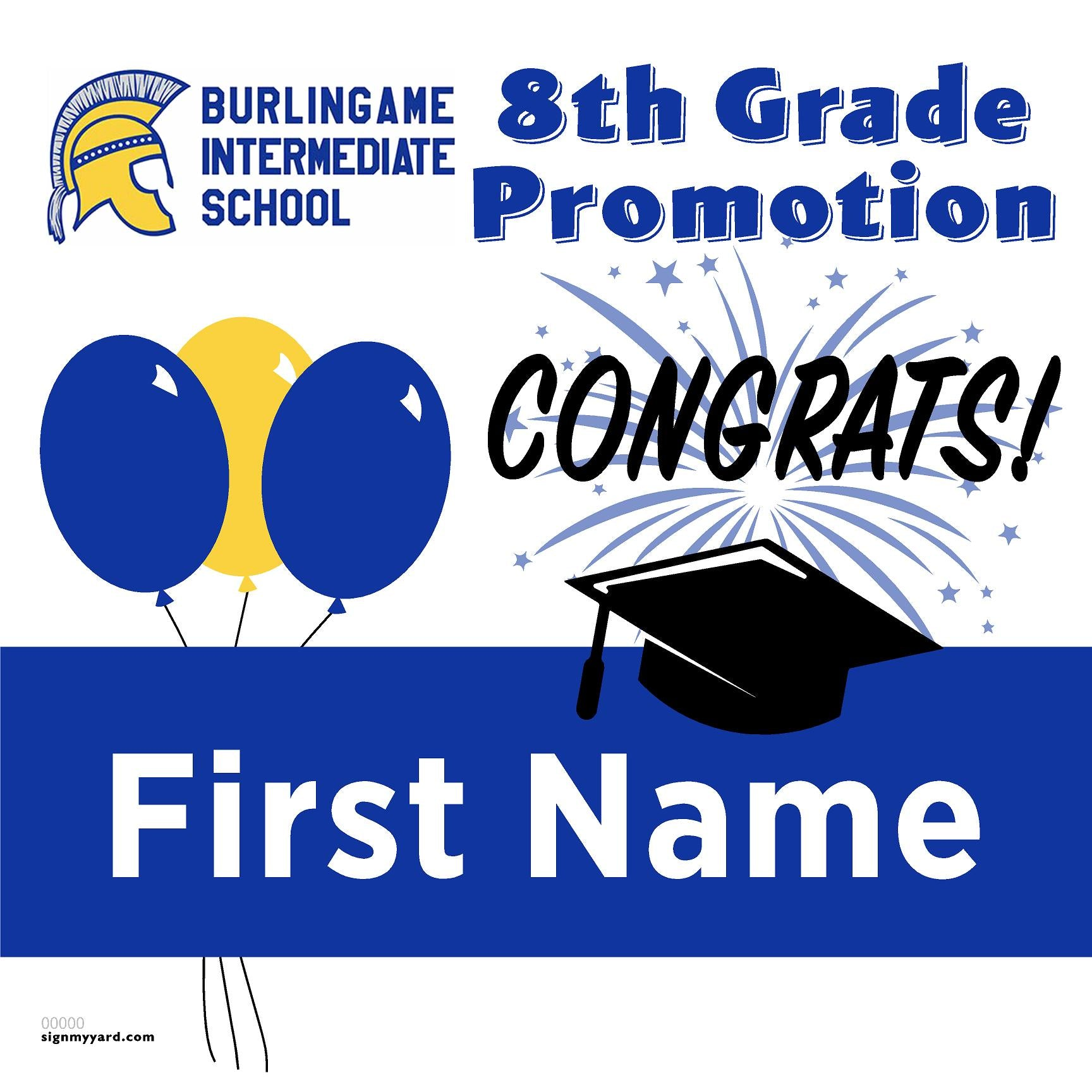 Burlingame Intermediate School 8th Grade Promotion 24x24 #shineon2024 Yard Sign (Option A)