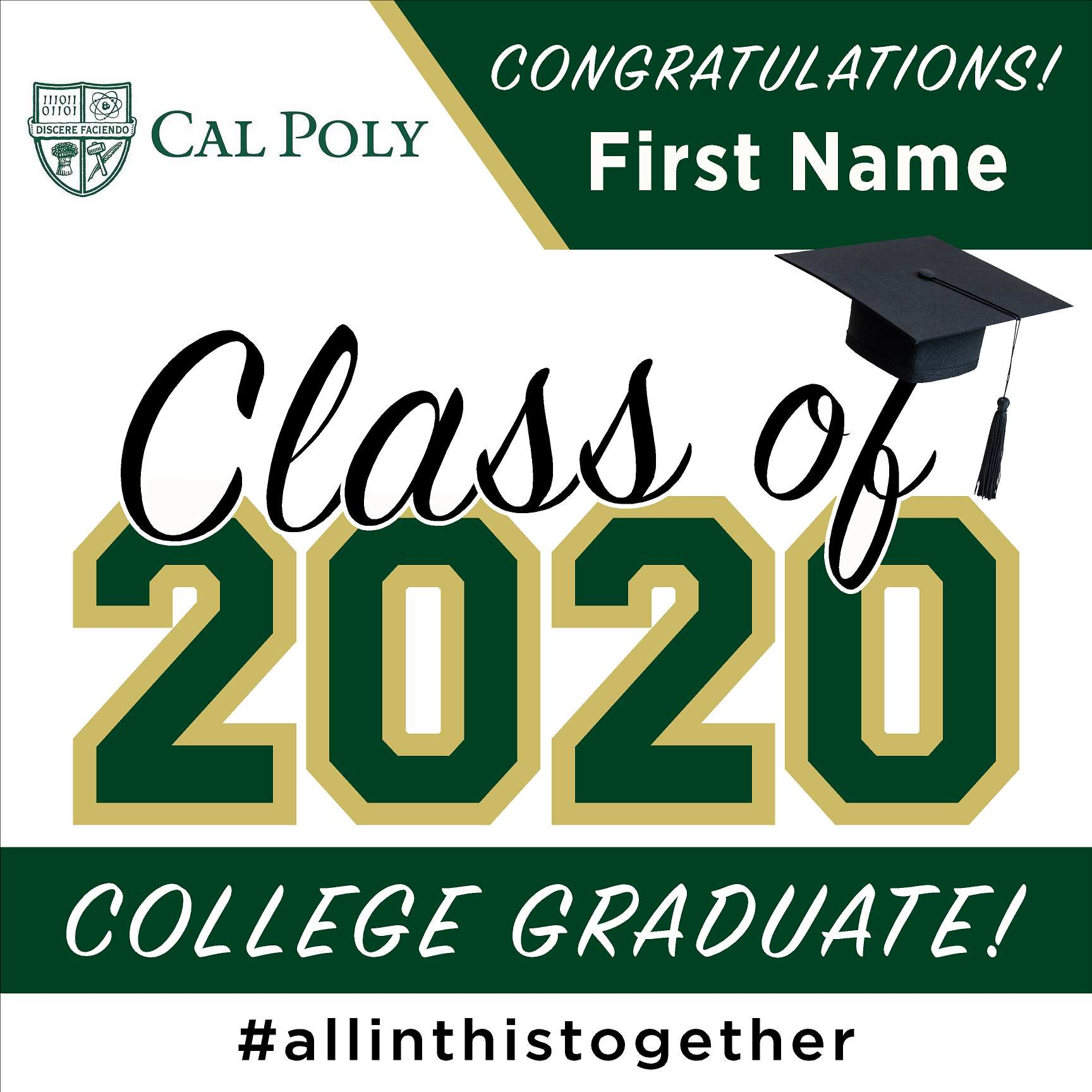 Cal Poly State University 24x24 Class of 2020 Yard Sign (Option A)