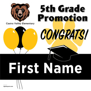Castro Valley Elementary School 5th Grade Promotion 24x24 #shineon2027 Yard Sign (Option A)