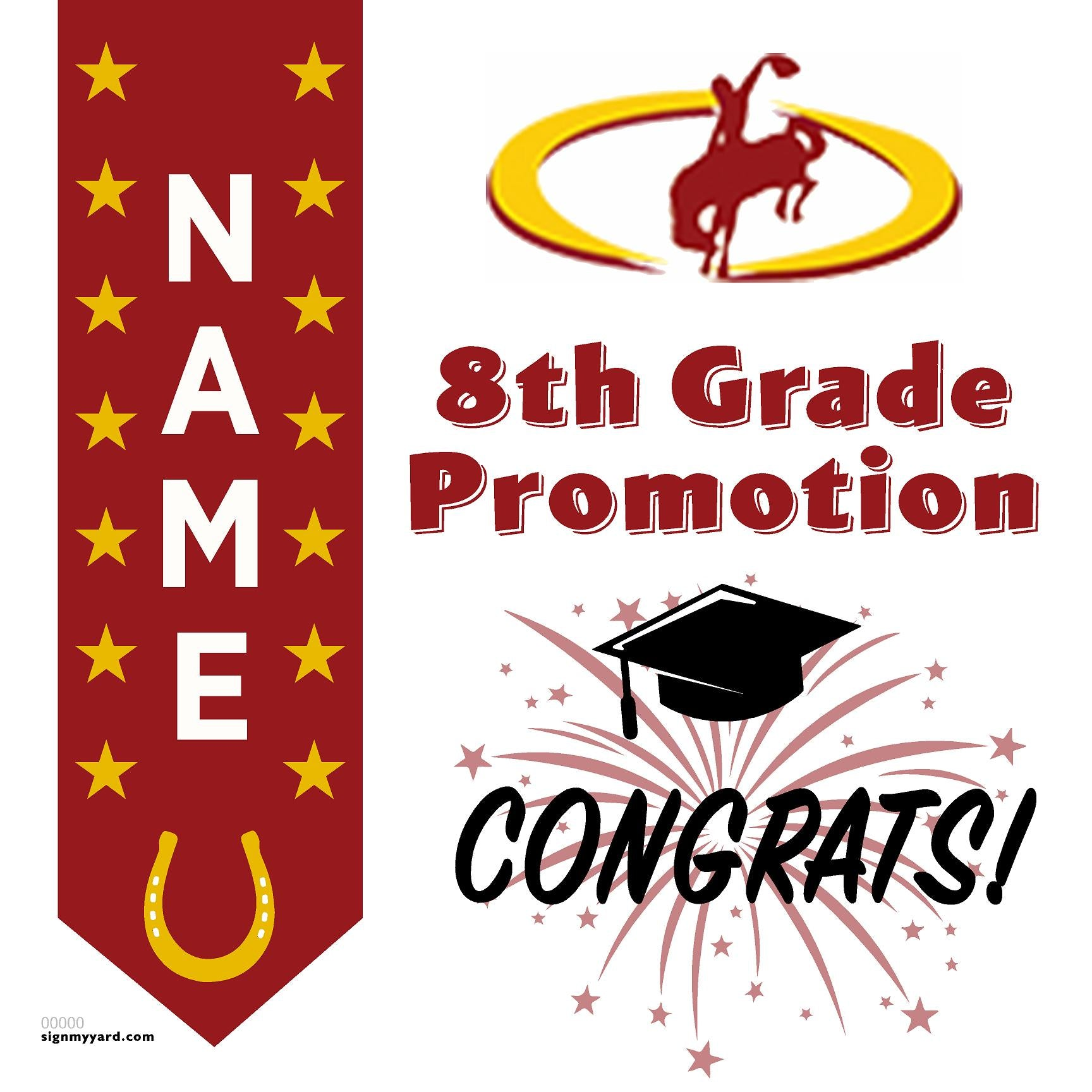 Cavitt Junior High 8th Grade Promotion 24x24 #shineon2024 Yard Sign (Option B)