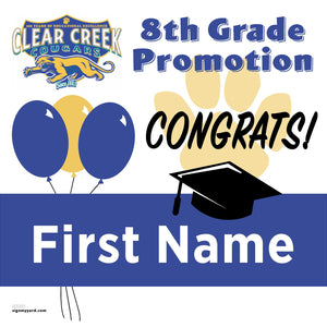 Clear Creek Middle School 8th Grade Promotion 24x24 #shineon2024 Yard Sign (Option A)