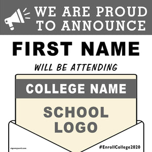 College Acceptance 24x24 Yard Sign (Option A)