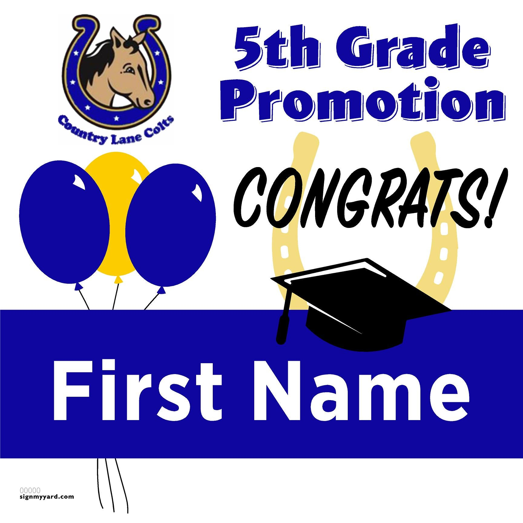 Country Lane Elementary School 5th Grade Promotion 24x24 #shineon2027 Yard Sign (Option A)
