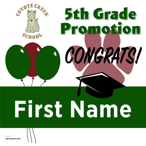 Coyote Creek Elementary School 5th Grade Promotion 24x24 #shineon2027 Yard Sign (Option A)