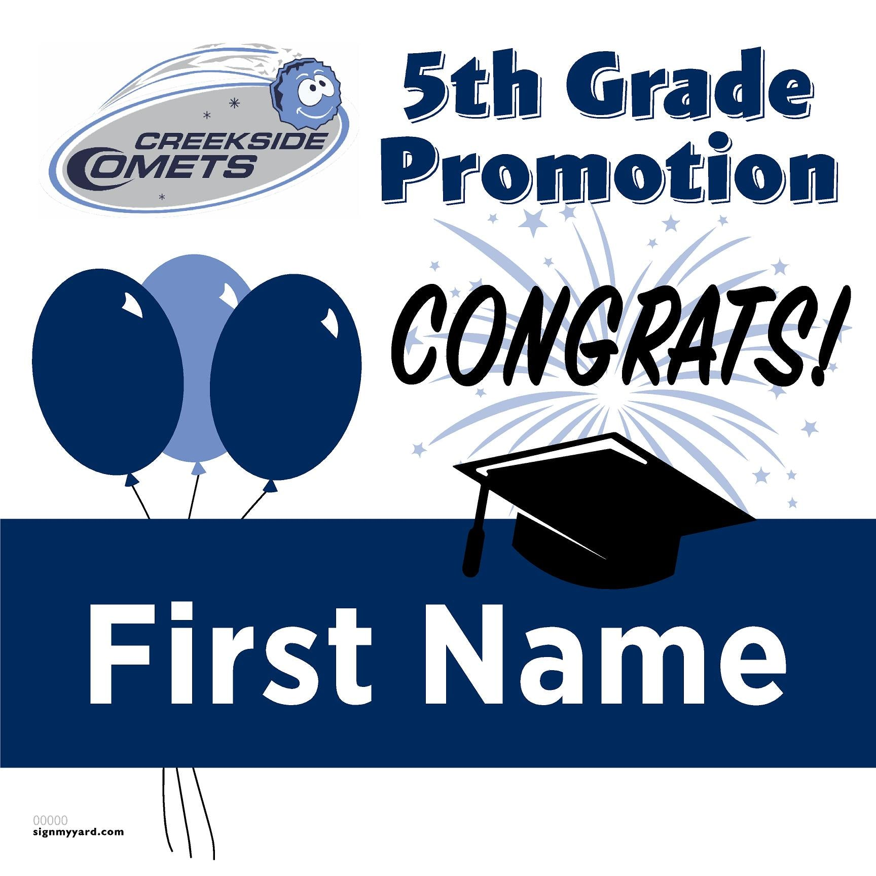 Creekside Elementary School 5th Grade Promotion 24x24 #shineon2027 Yard Sign (Option A)