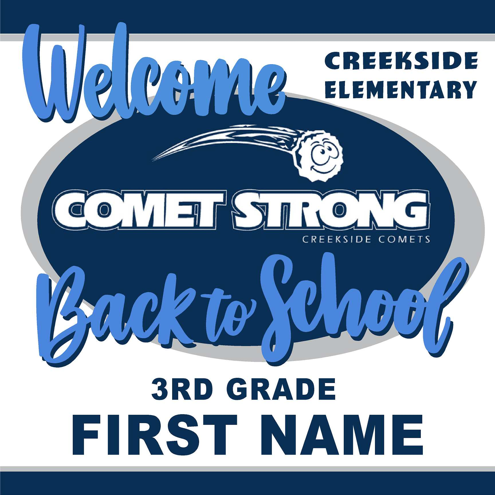 Welcome back to school!  Creekside Elementary 3rd Grade 24x24 Yard Sign (includes installation in your yard)