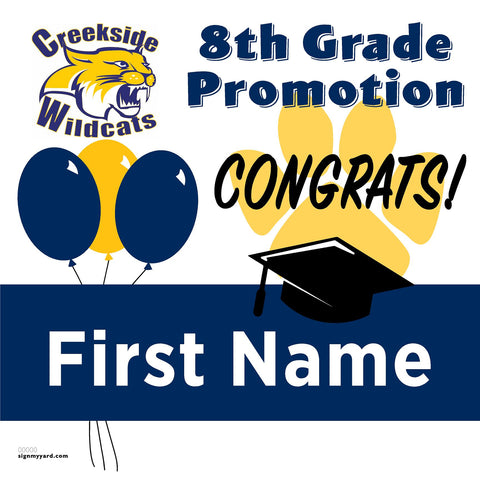 Creekside Middle School 8th Grade Promotion 24x24 Yard Sign (Option A)