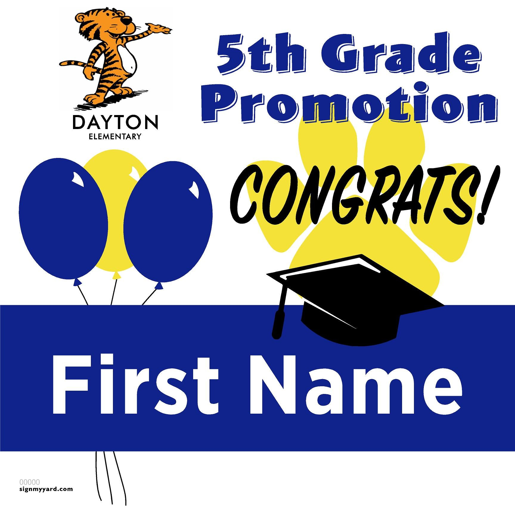 Dayton Elementary School 5th Grade Promotion 24x24 #shineon2027 Yard Sign (Option A)