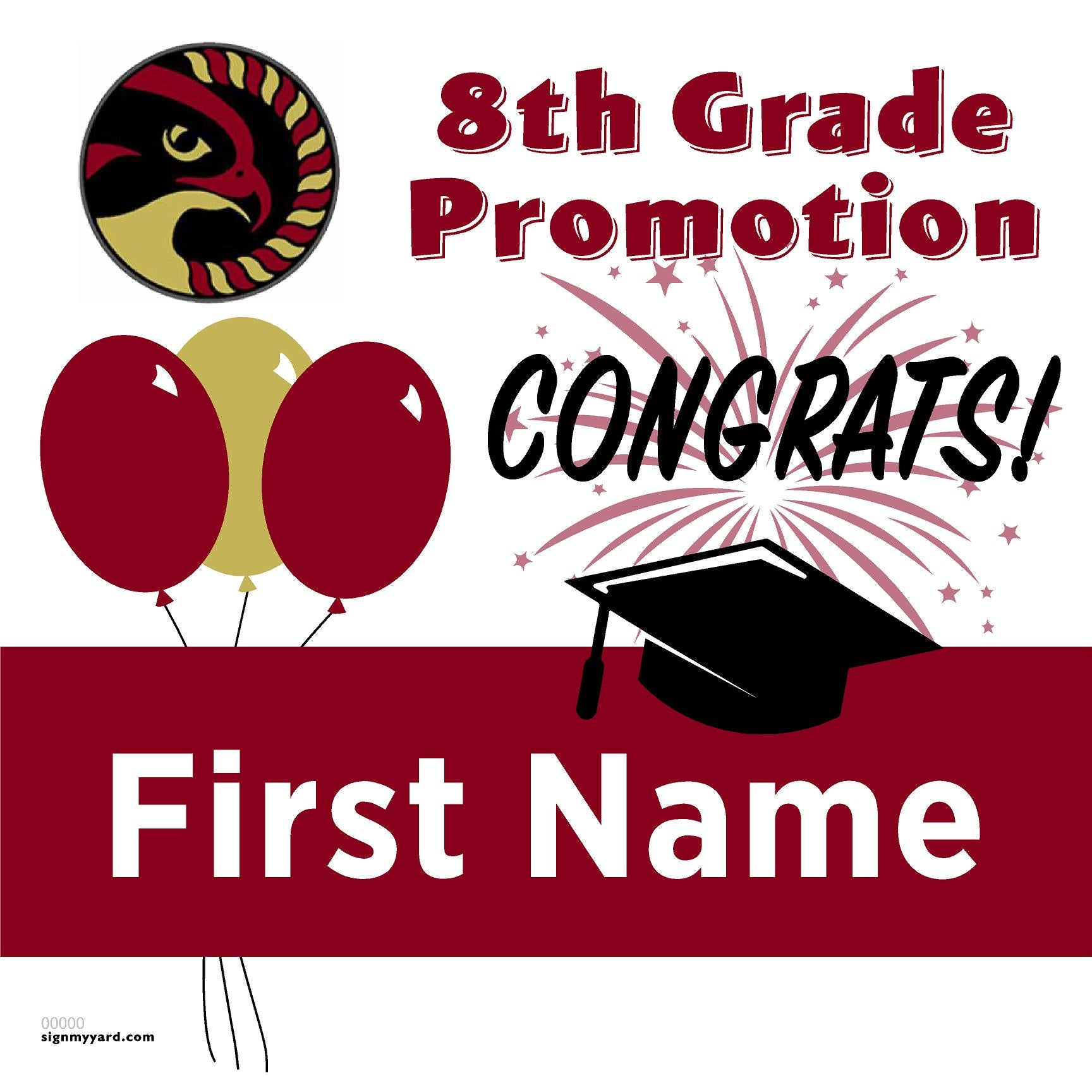 Discovery Charter Tracy 8th Grade Promotion 24x24 Yard Sign (Option A)