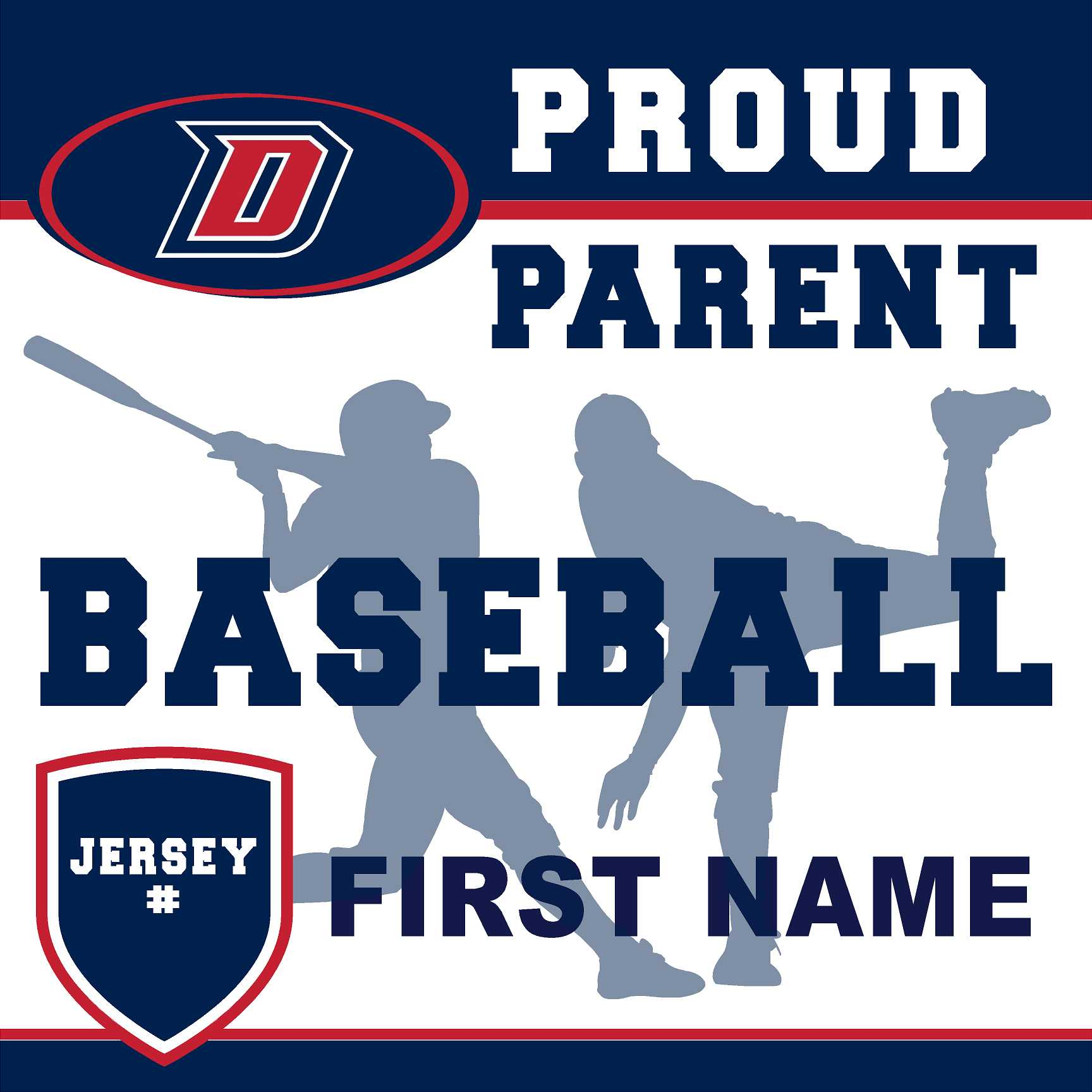 Dublin High School Baseball (Parent with Jersey #) 24x24 Yard Sign (includes installation in your yard)