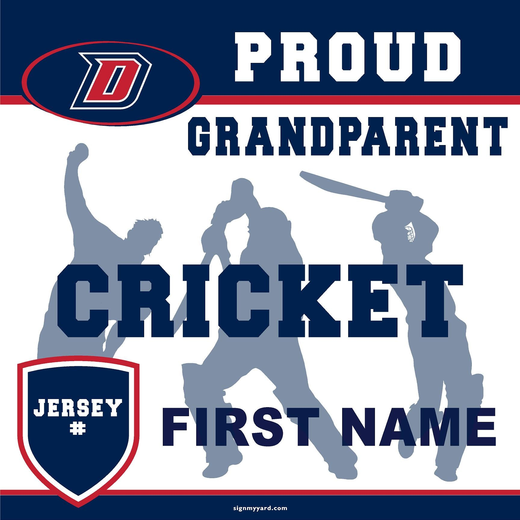 Dublin High School Cricket (Grandparent with Jersey #) 24x24 Yard Sign (includes installation in your yard)