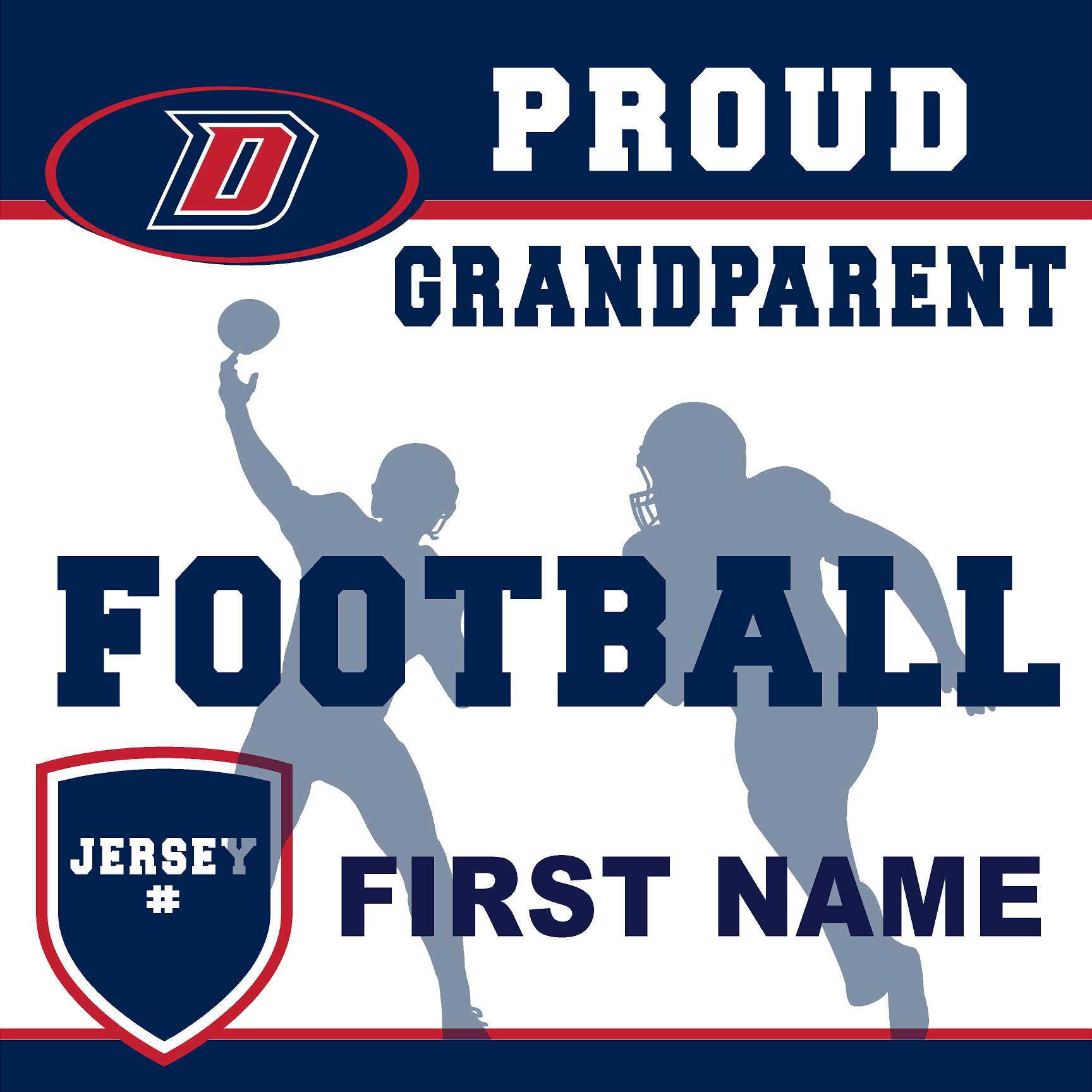 Dublin High School Football (Grandparent with Jersey #) 24x24 Yard Sign (includes installation in your yard)
