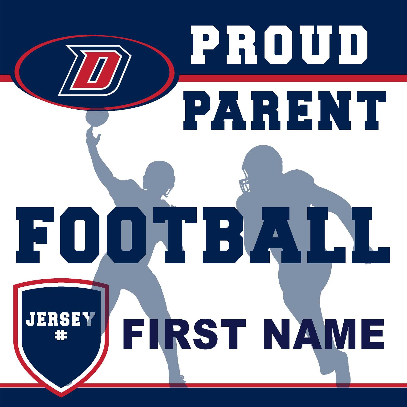 Dublin High School Football (Parent with Jersey #) 24x24 Yard Sign (includes installation in your yard)