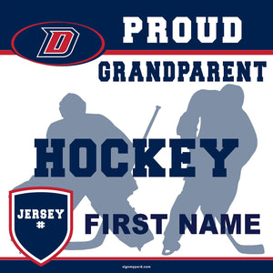 Dublin High School Hockey (Grandparent with Jersey #) 24x24 Yard Sign (includes installation in your yard)