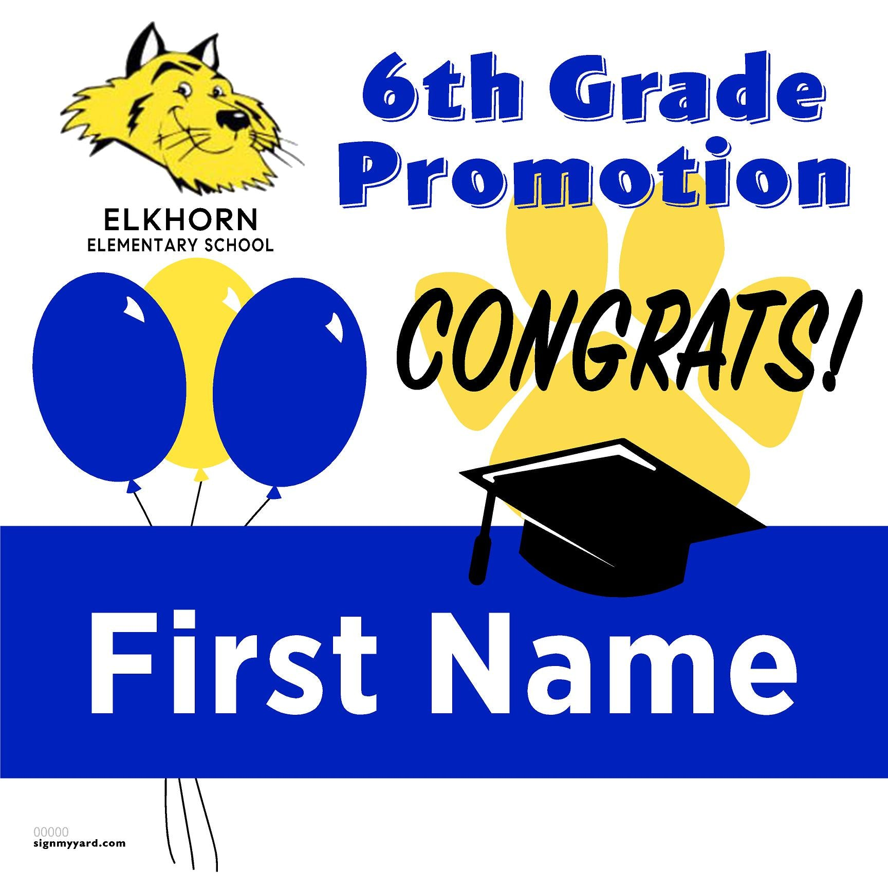 Elkhorn Elementary School 6th Grade Promotion 24x24 #shineon2027 Yard Sign (Option A)