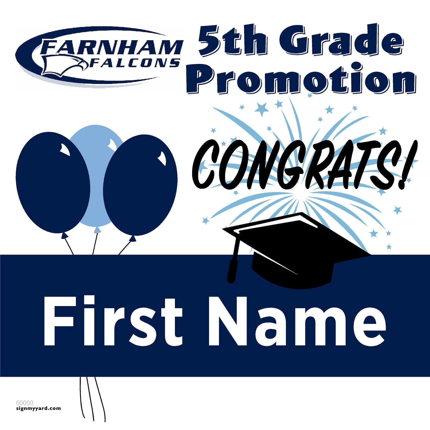 Farnham Elementary School 5th Grade Promotion 24x24 #shineon2027 Yard Sign (Option A)