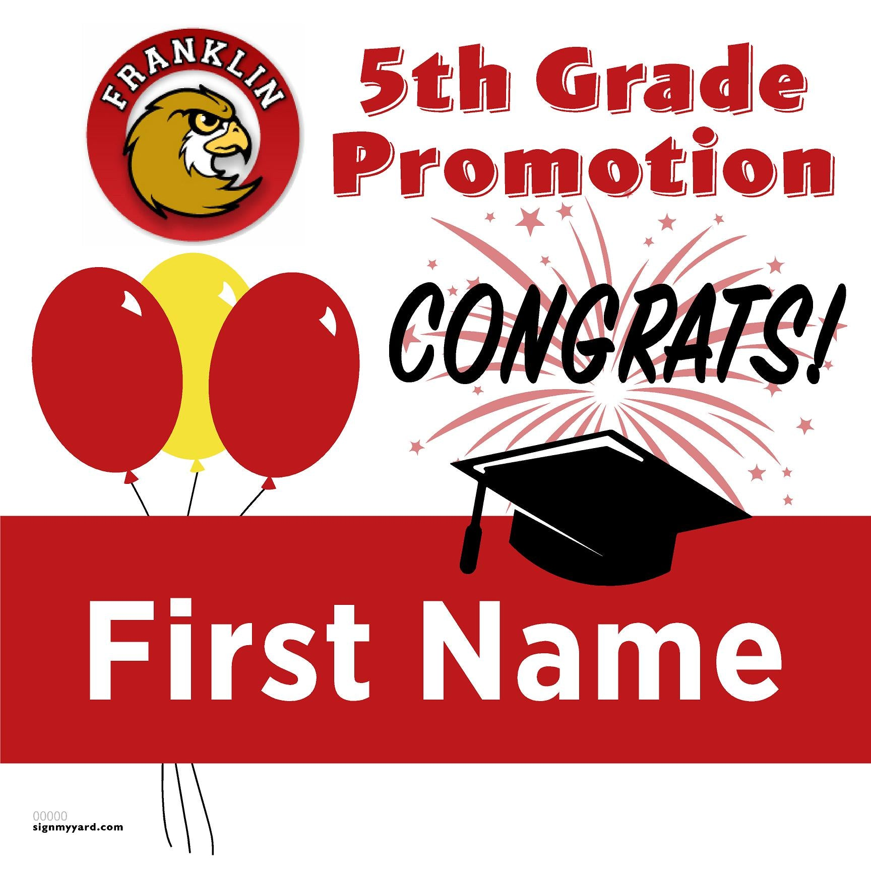 Franklin Elementary School 5th Grade Promotion 24x24 #shineon2027 Yard Sign (Option A)