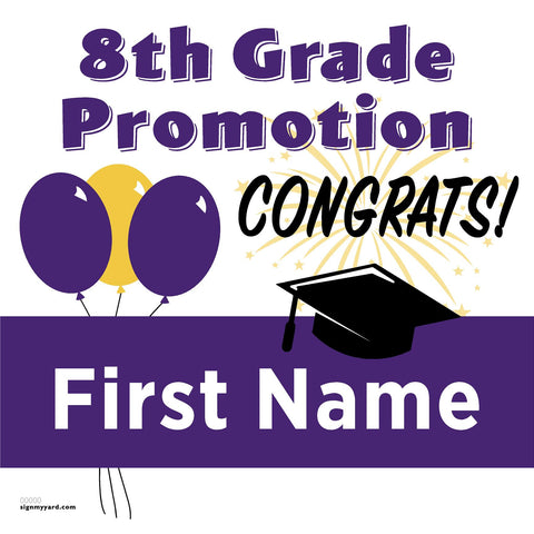 Generic Middle School 8th Grade Promotion 24x24 #shineon2024 Yard Sign (Option A)