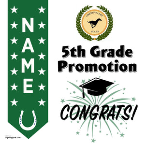 Green Valley Elementary School 5th Grade Promotion 24x24 #shineon2027 Yard Sign (Option B)