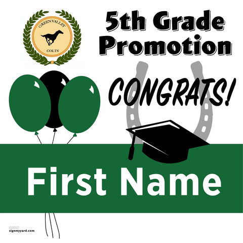 Green Valley Elementary School 5th Grade Promotion 24x24 #shineon2027 Yard Sign (Option A)