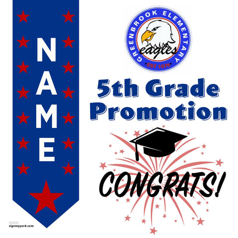 Greenbrook Elementary School 5th Grade Promotion 24x24 #shineon2027 Yard Sign (Option B)