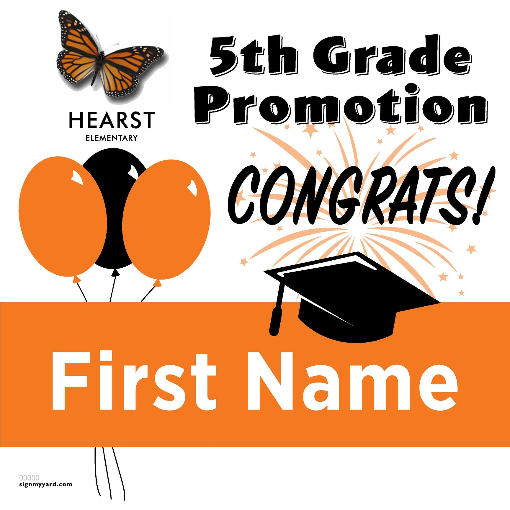 Hearst Elementary School 5th Grade Promotion 24x24 #shineon2027 Yard Sign (Option A)