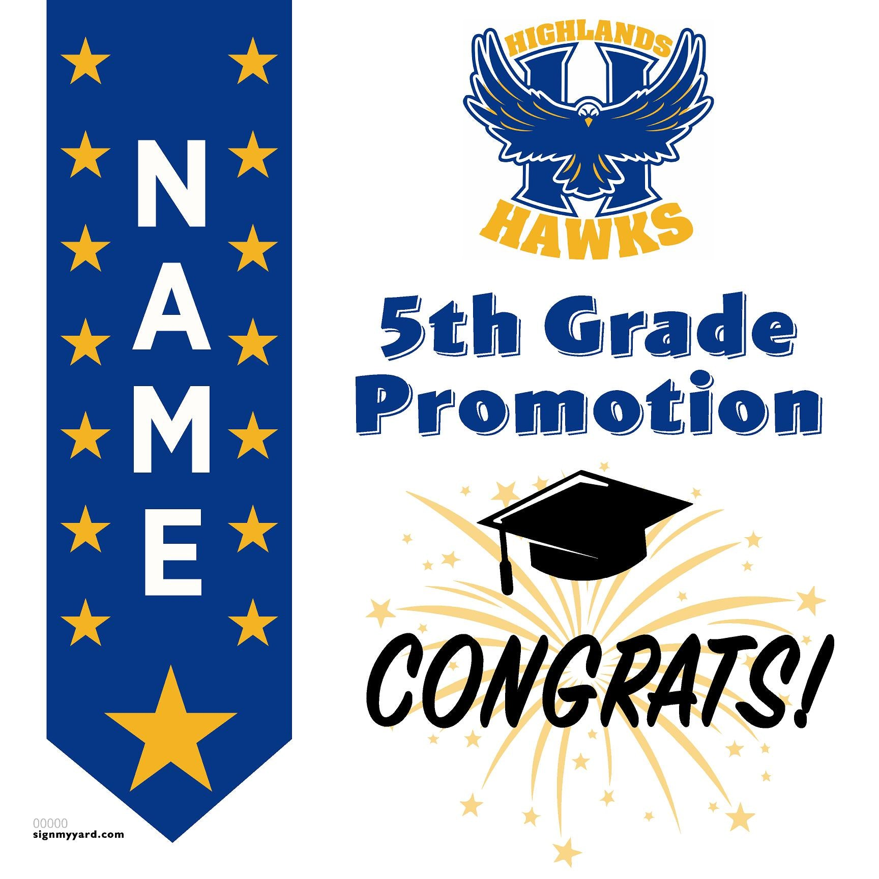 Highlands Elementary School 5th Grade Promotion 24x24 #shineon2027 Yard Sign (Option B)