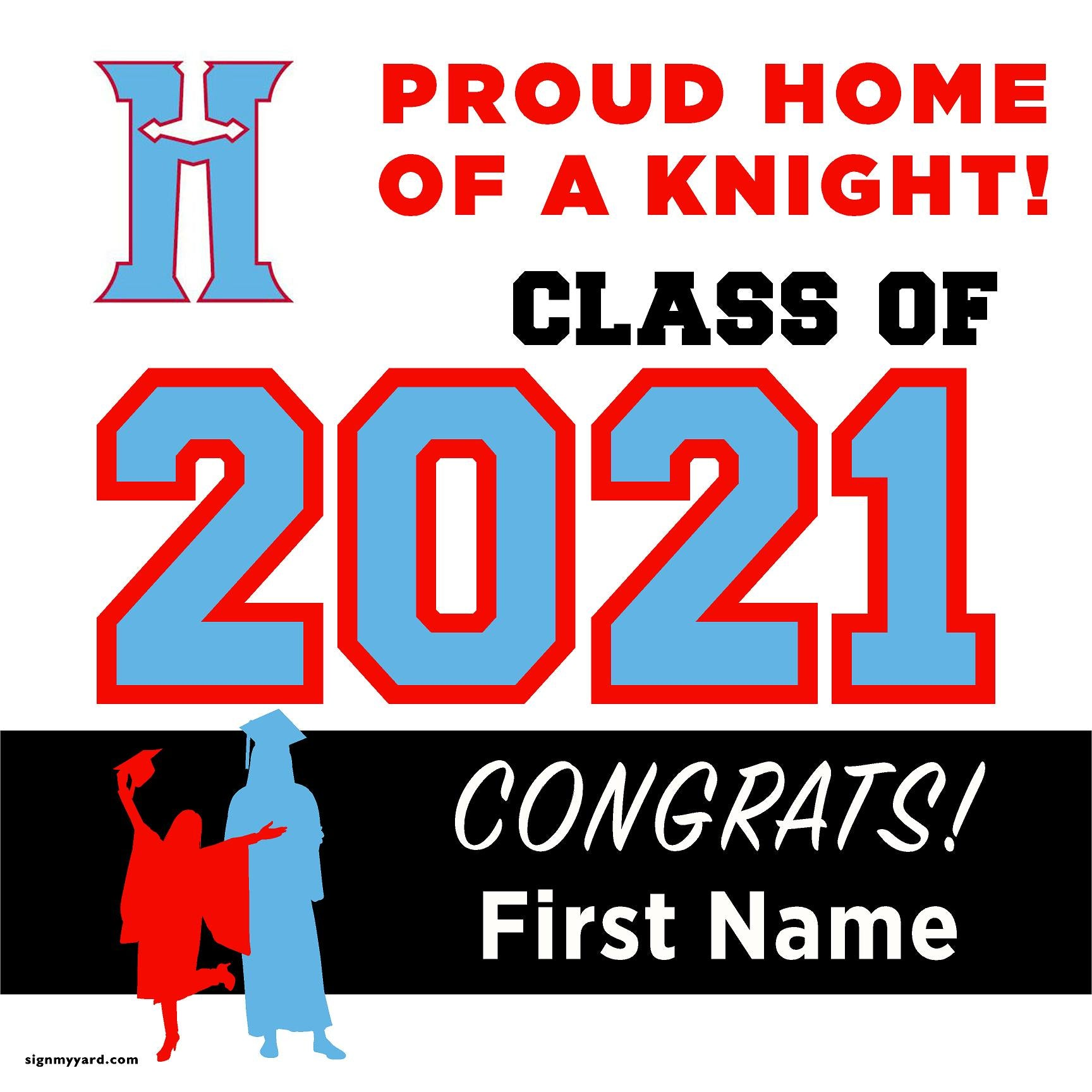 Hillsdale High School 24x24 Class of 2021 Yard Sign (Option A)
