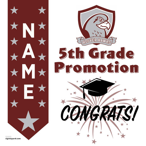 Hoover Elementary School 5th Grade Promotion 24x24 #shineon2027 Yard Sign (Option B)