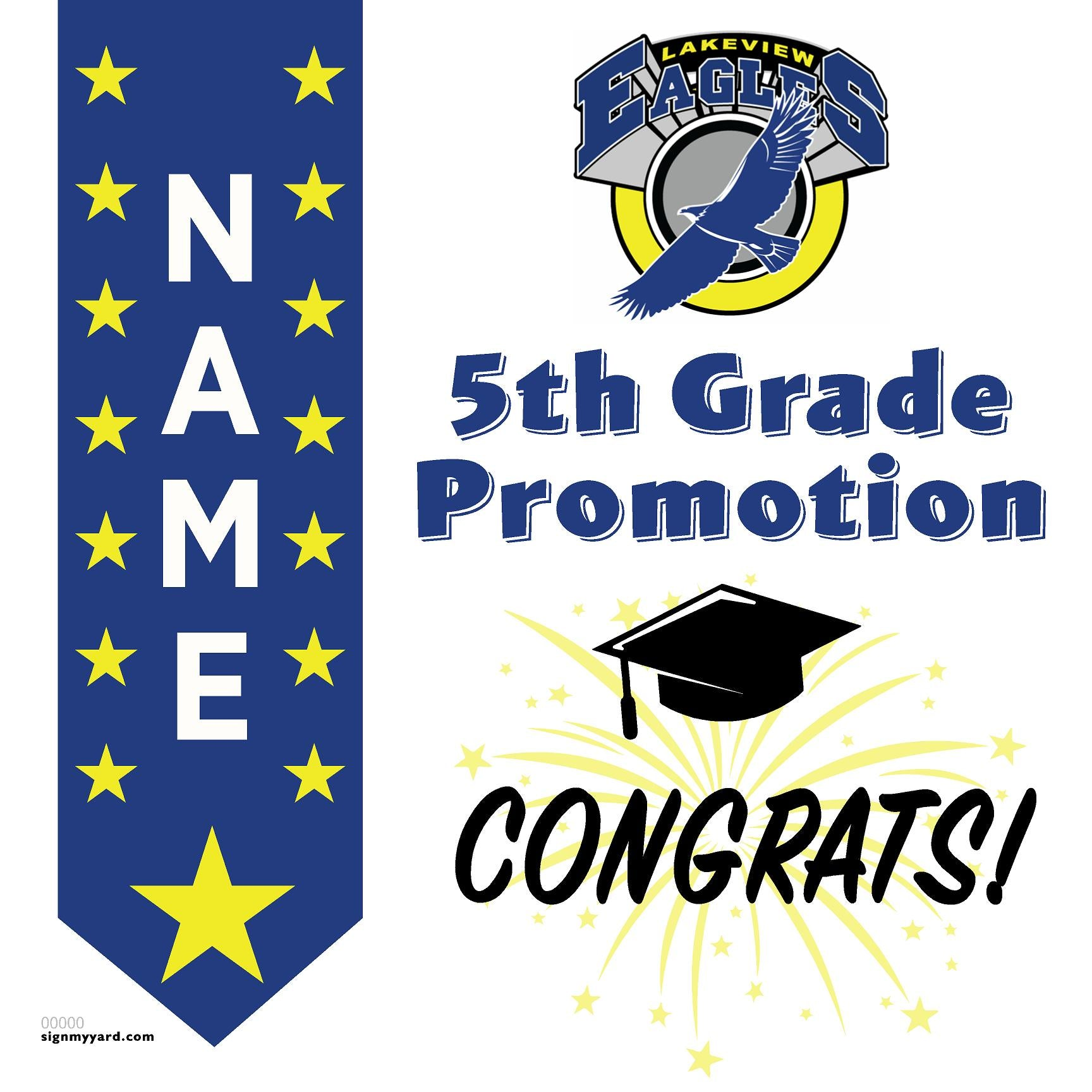 Lakeview Elementary School 5th Grade Promotion 24x24 #shineon2027 Yard Sign (Option B)