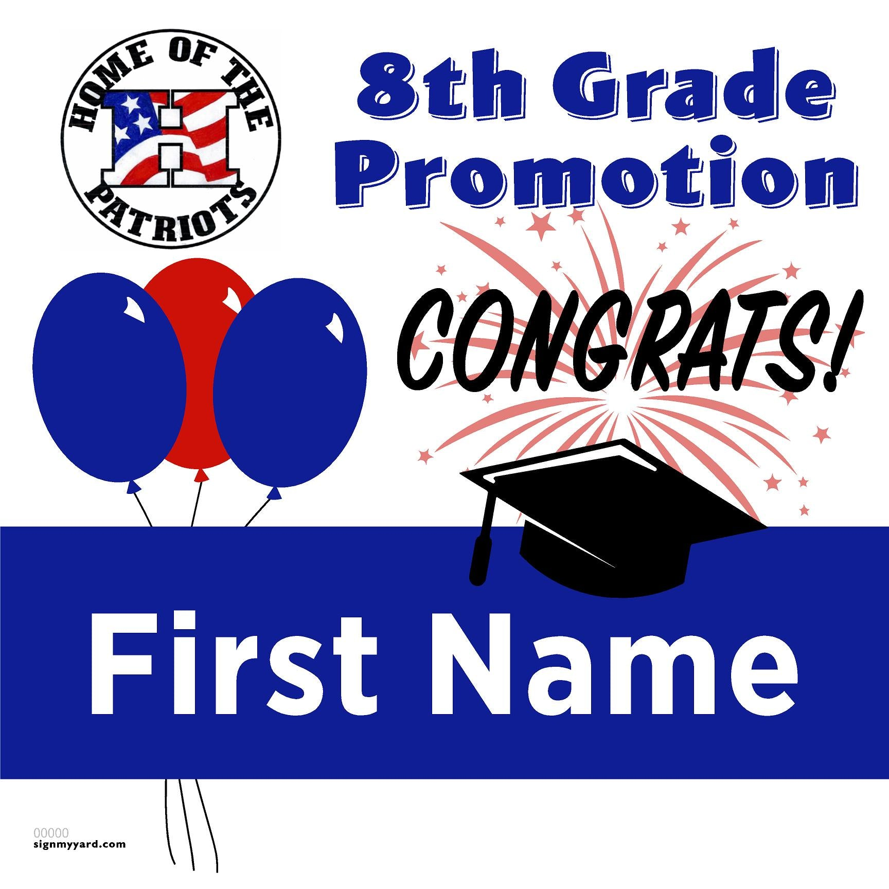 Leonard Herman Intermediate School 8th Grade Promotion 24x24 #shineon2024 Yard Sign (Option A)