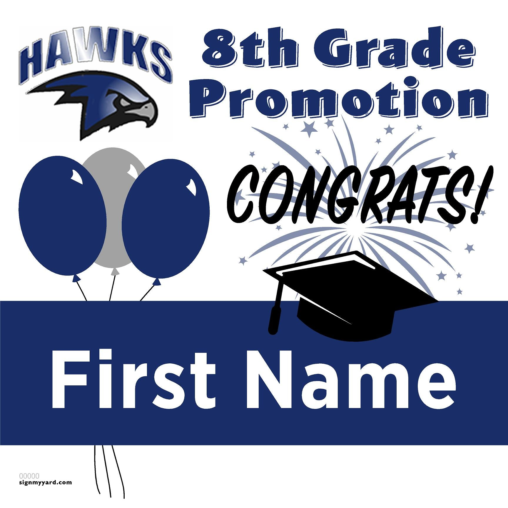 Marguerite Maze Middle School 8th Grade Promotion 24x24 Yard Sign (Option A)