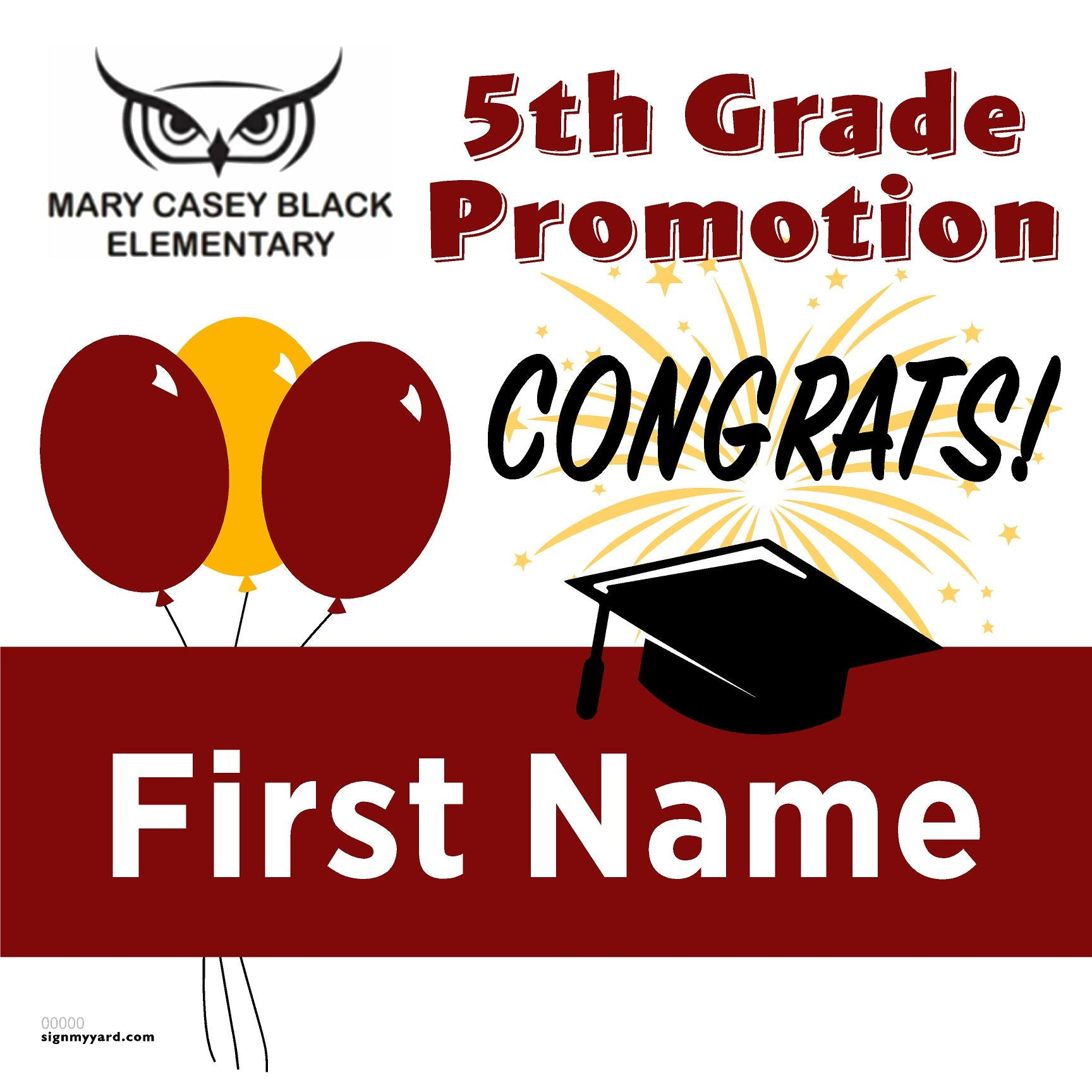 Mary Casey Black Elementary 5th Grade Promotion 24x24 #shineon2027 Yard Sign (Option A)