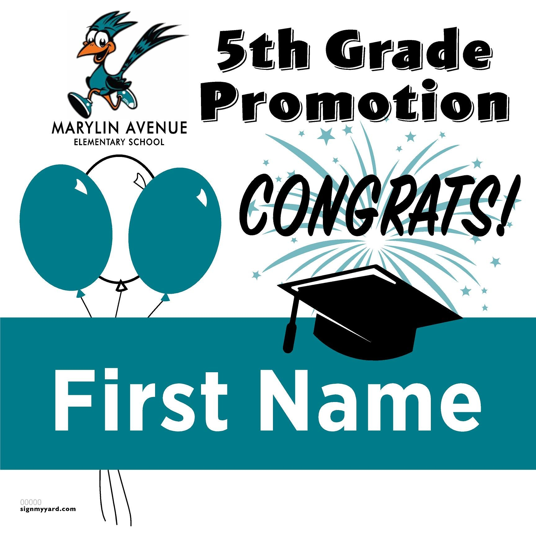 Marylin Avenue Elementary School 5th Grade Promotion 24x24 #shineon2027 Yard Sign (Option A)