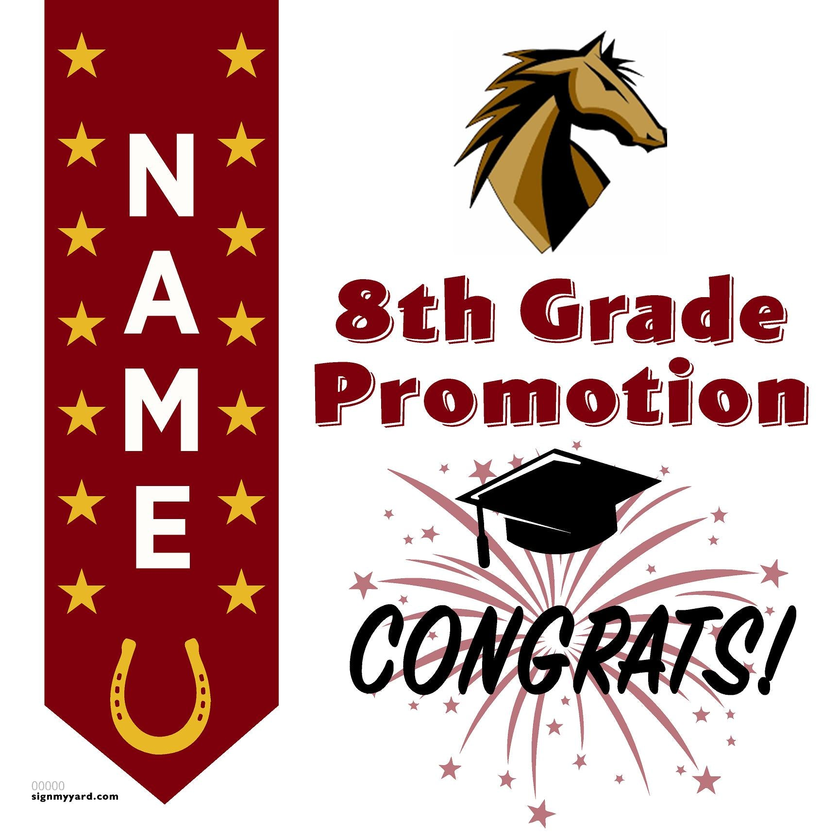 Mendenhall Middle School 8th Grade Promotion 24x24 #shineon2024 Yard Sign (Option B)