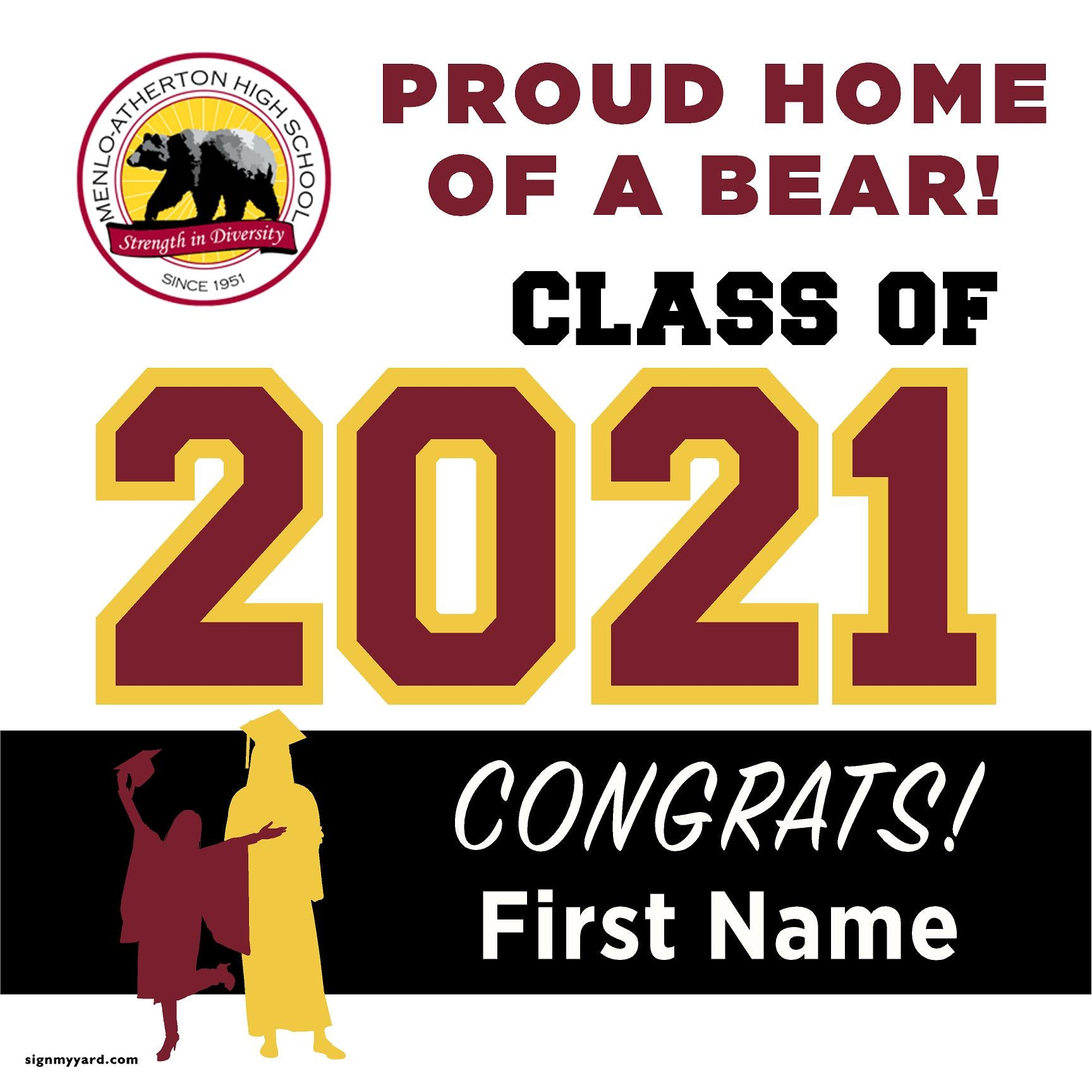 Menlo-Atherton High School 24x24 Class of 2021 Yard Sign (Option A)