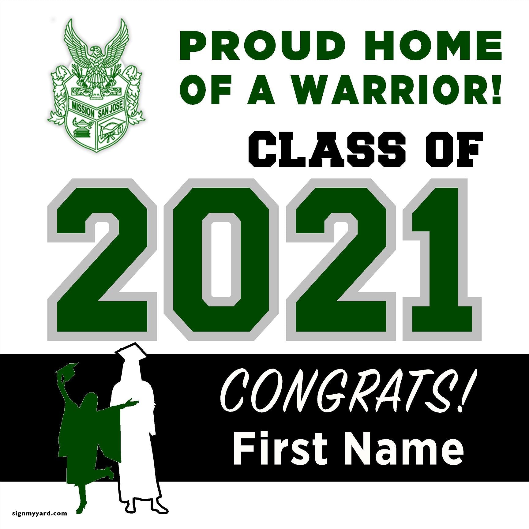 Mission San Jose High School 24x24 Class of 2020 Yard Sign (Option A)