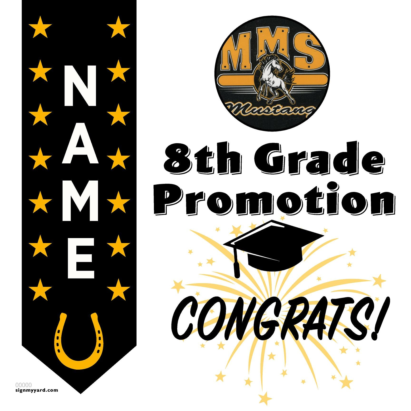Moreland Middle School 8th Grade Promotion 24x24 #shineon2024 Yard Sign (Option B)