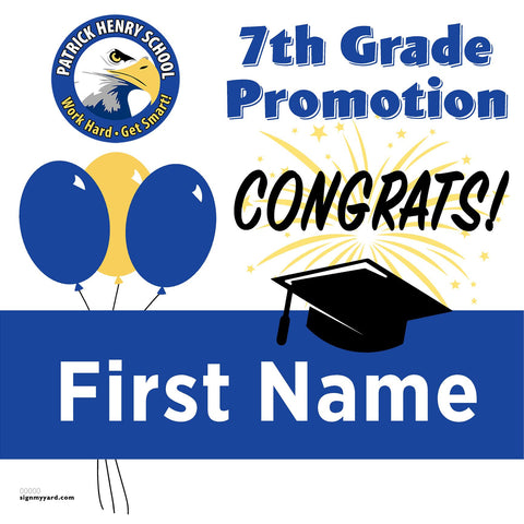 Patrick Henry School Virginia 7th Grade Promotion 24x24 #shineon2024 Yard Sign (Option A)