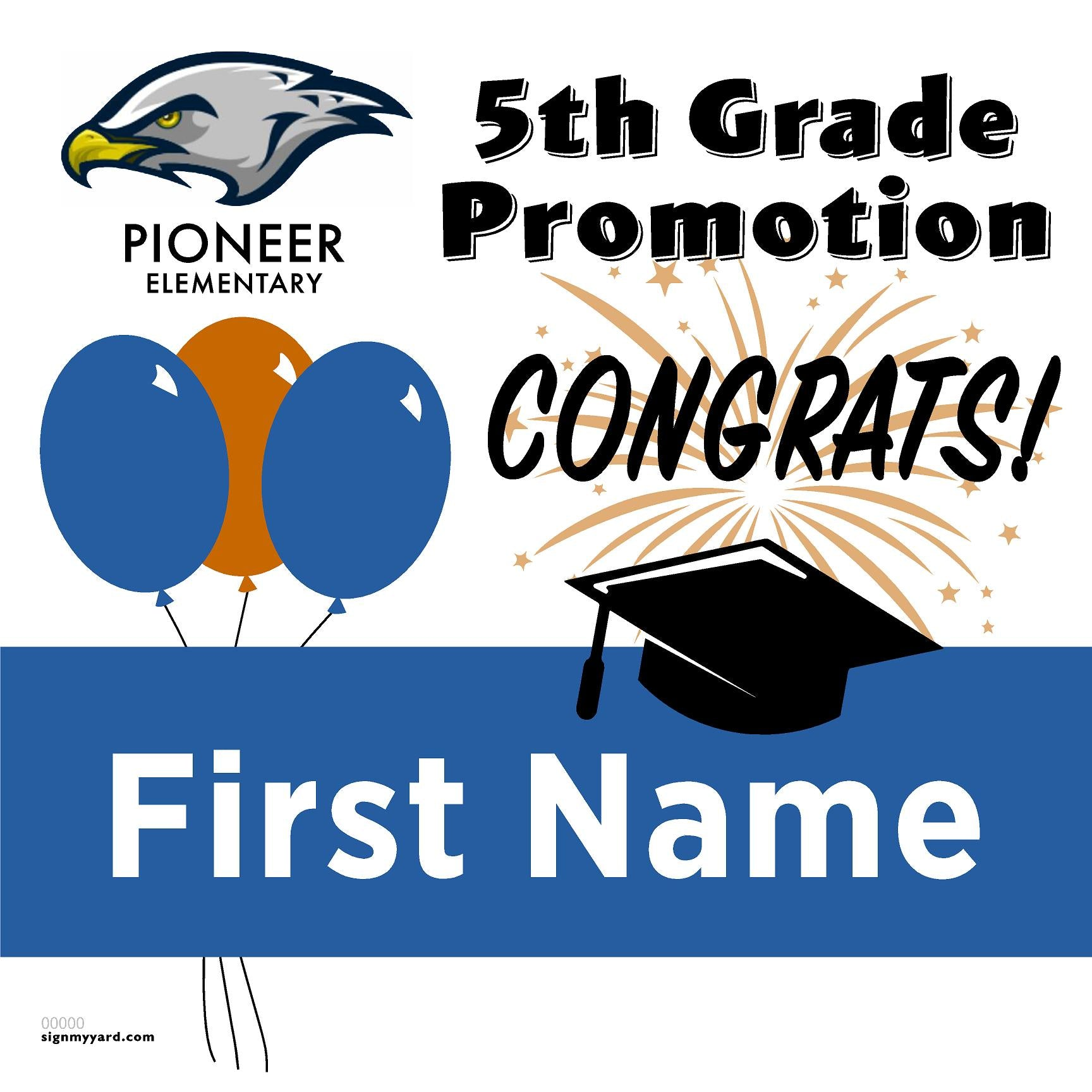 Pioneer Elementary School 5th Grade Promotion 24x24 #shineon2027 Yard Sign (Option A)