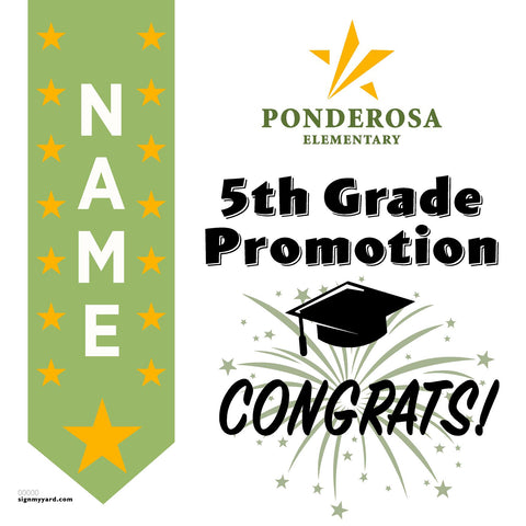 Ponderosa Elementary School 5th Grade Promotion 24x24 #shineon2027 Yard Sign (Option B)