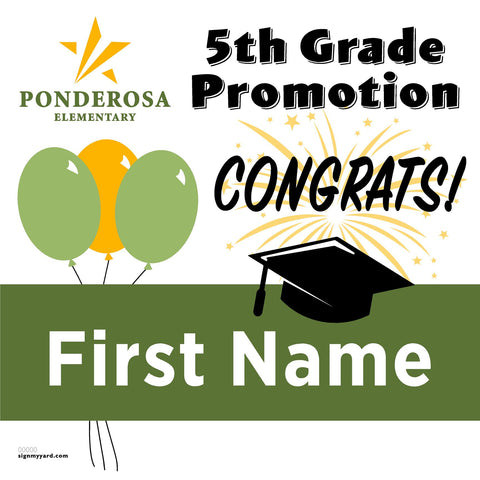 Ponderosa Elementary School 5th Grade Promotion 24x24 #shineon2027 Yard Sign (Option A)