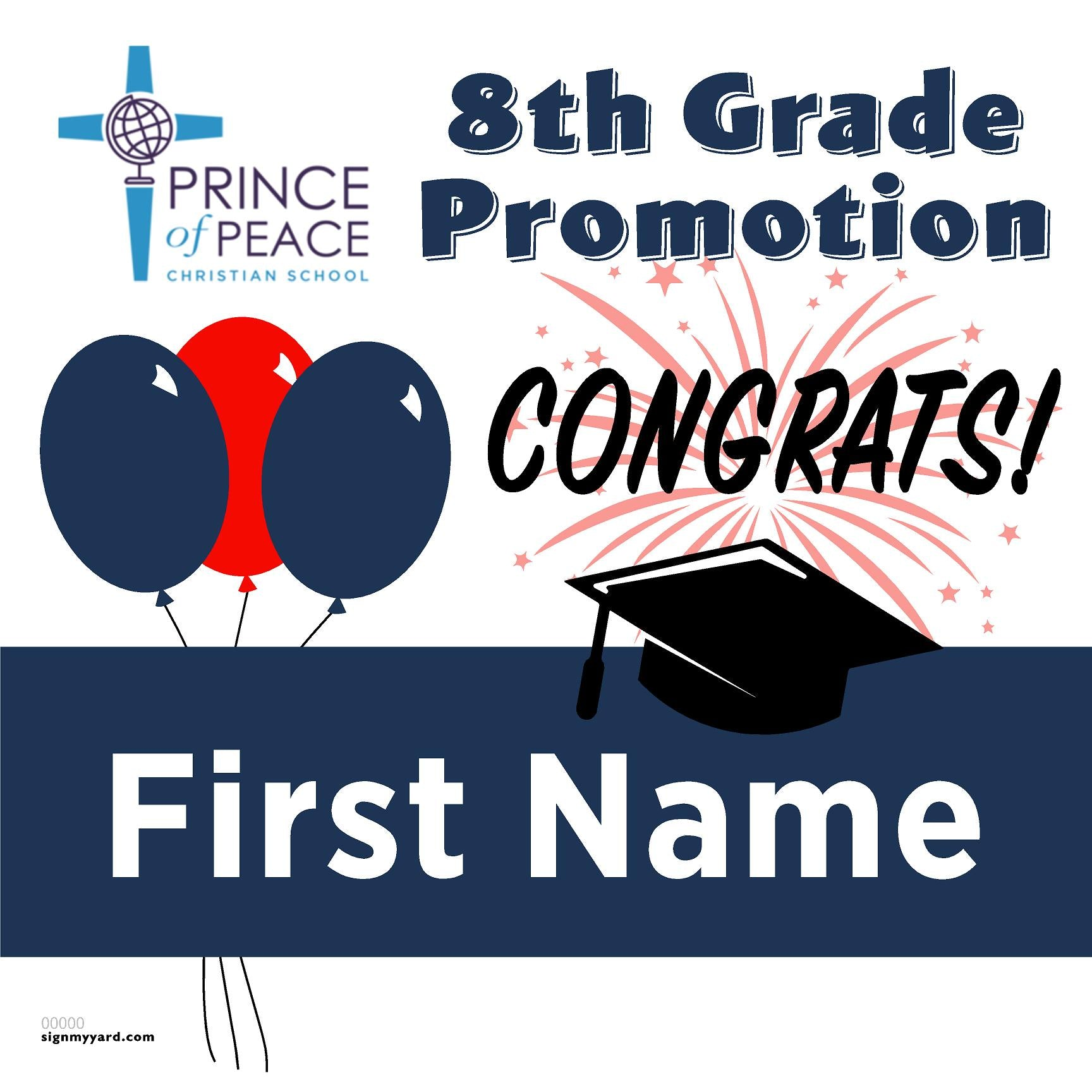 Prince of Peace Christian 8th Grade Promotion 24x24 #shineon2024 Yard Sign (Option A)