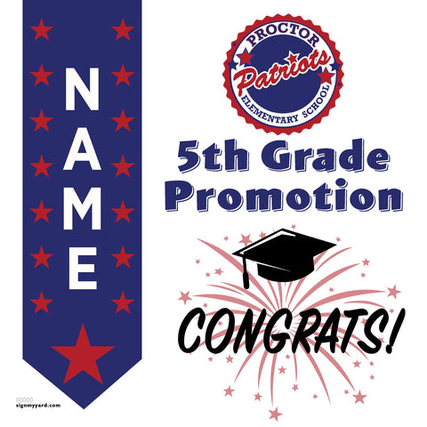 Proctor Elementary School 5th Grade Promotion 24x24 #shineon2027 Yard Sign (Option B)