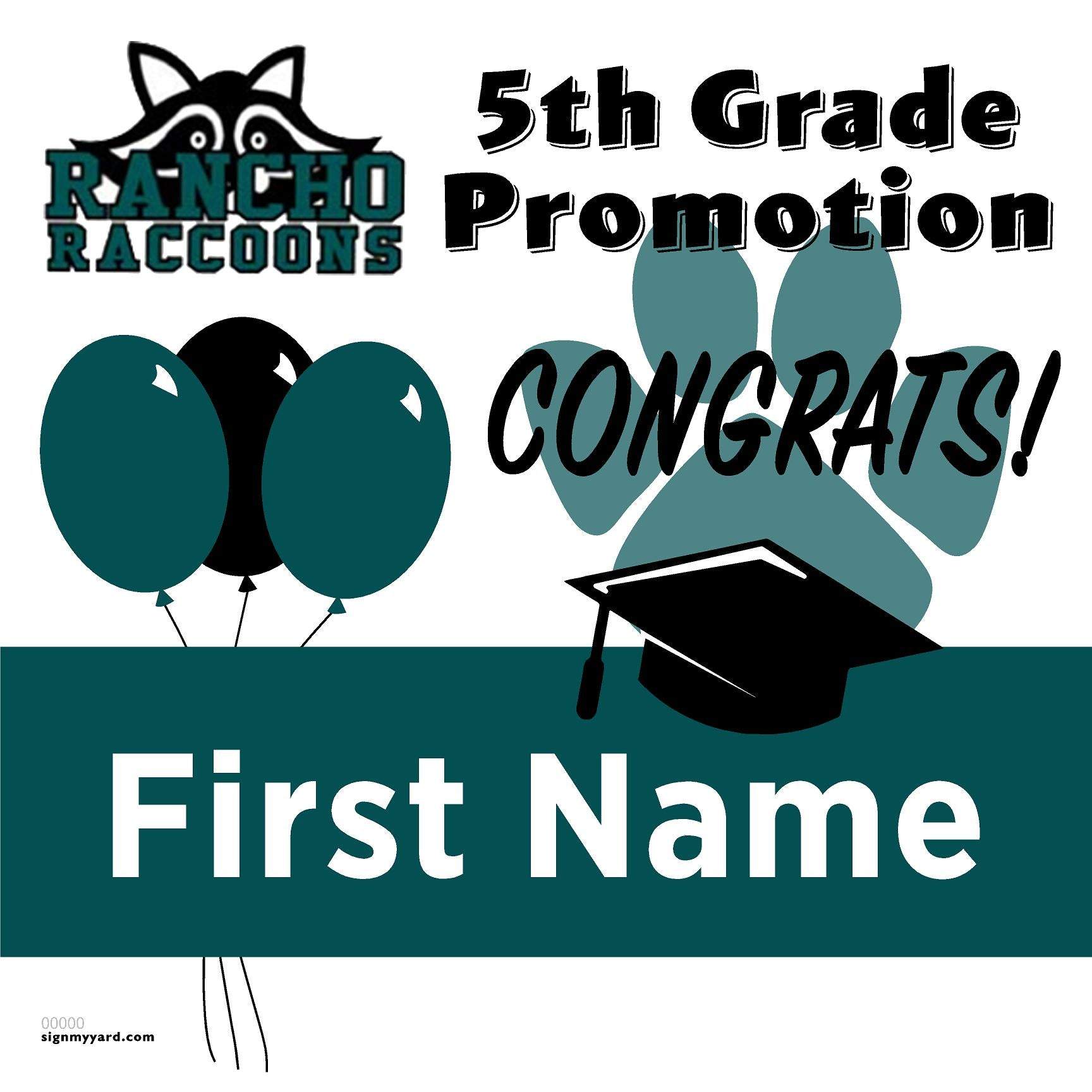 Rancho Las Positas Elementary School 5th Grade Promotion 24x24 #shineon2027 Yard Sign (Option A)