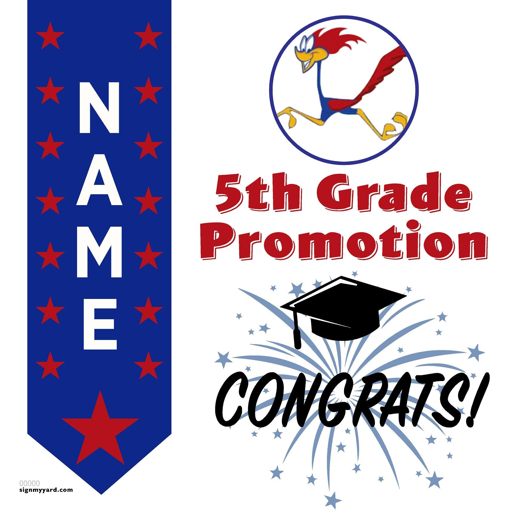 Rancho Romero Elementary 5th Grade Promotion 24x24 #shineon2027 Yard Sign (Option B)
