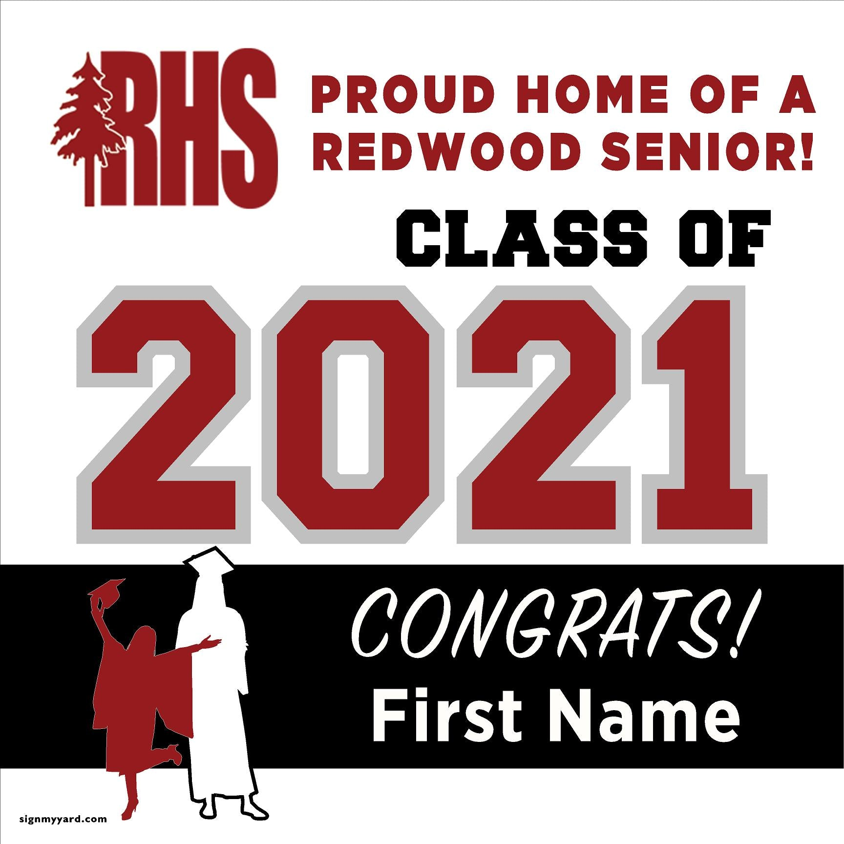 Redwood High School 24x24 Class of 2021 Yard Sign (Option A)
